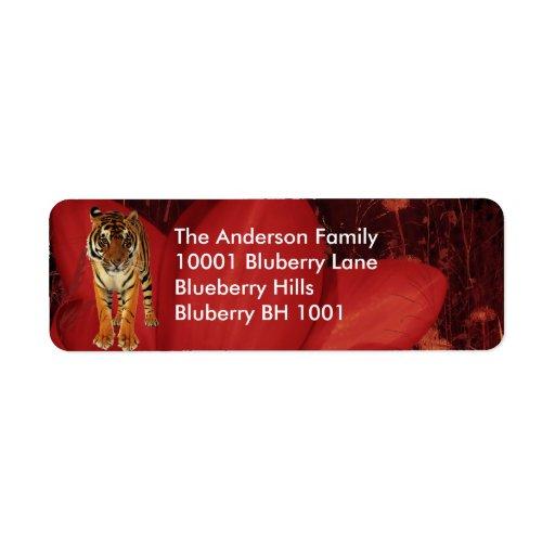 Tigre y flores del remite de la etiqueta etiqueta de remite