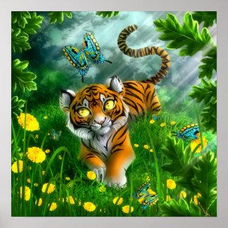 Tigre y las mariposas impresiones