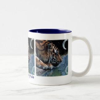 Tigre y luna de la fantasía taza