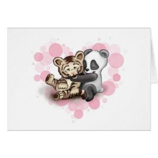 Tigre y panda tarjeta de felicitación
