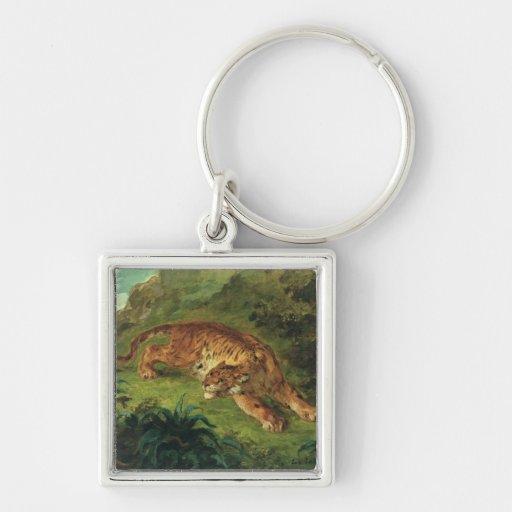 Tigre y serpiente, 1858 llavero cuadrado plateado