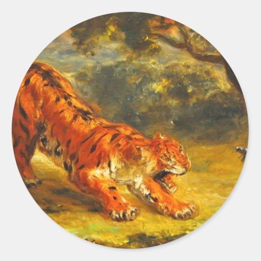 Tigre y serpiente de Eugene Delacroix- Pegatina Redonda