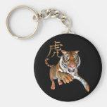 Tigre y símbolo chino llavero redondo tipo pin