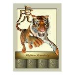 Tigre y tarjeta china del perfil del símbolo