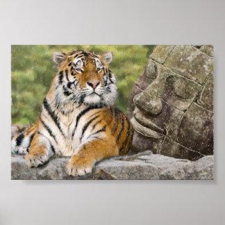 Tigre y templo budista póster