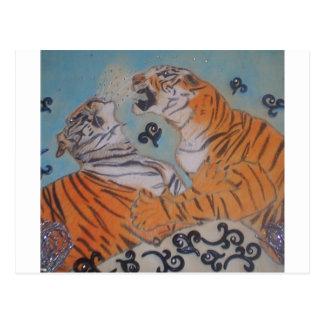 Tigres apasionados tarjeta postal