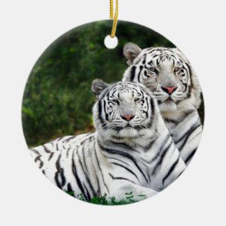 Tigres blancos adorno redondo de cerámica