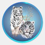 Tigres blancos - pegatinas etiquetas redondas