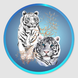 Tigres blancos - pegatinas pegatina redonda
