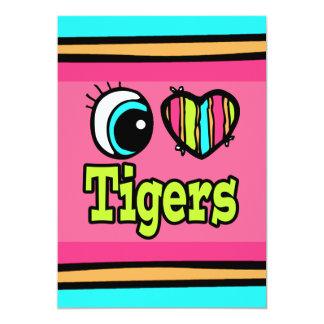 """Tigres brillantes del amor del corazón I del ojo Invitación 5"""" X 7"""""""