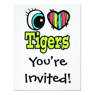 """Tigres brillantes del amor del corazón I del ojo Invitación 4.25"""" X 5.5"""""""