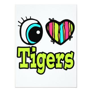 """Tigres brillantes del amor del corazón I del ojo Invitación 6.5"""" X 8.75"""""""
