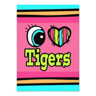 """Tigres brillantes del amor del corazón I del ojo Invitación 4.5"""" X 6.25"""""""