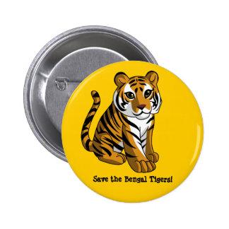 Tigres de Bengala Pin Redondo 5 Cm