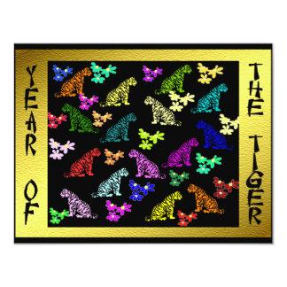 """Tigres del arco iris invitación 4.25"""" x 5.5"""""""