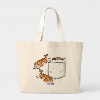 Tigres del bolsillo bolsa tela grande