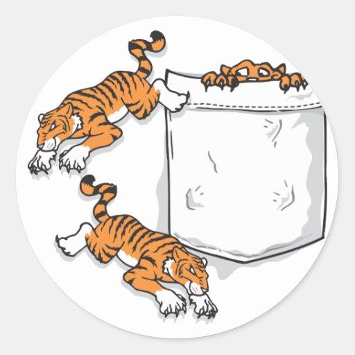 Tigres del bolsillo pegatina redonda