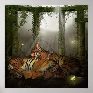Tigres en el Ruinds te amo, año del tigre Póster
