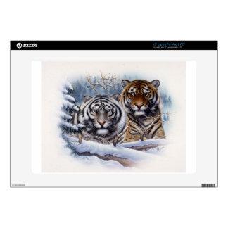 Tigres en la niebla portátil calcomanía