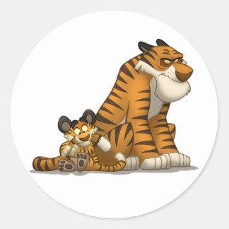 Tigres en los pegatinas pegatina redonda
