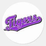 Tigres en púrpura pegatina redonda