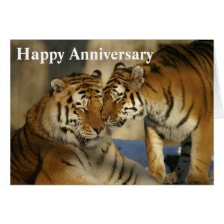 Tigres felices de Anniversary_Affectionate Tarjeta De Felicitación