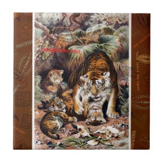 Tigres para el viaje responsable azulejo cuadrado pequeño