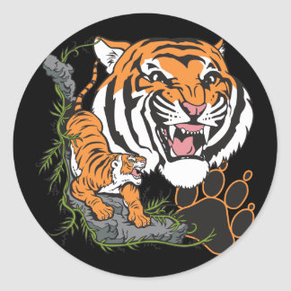 Tigres Pegatina Redonda