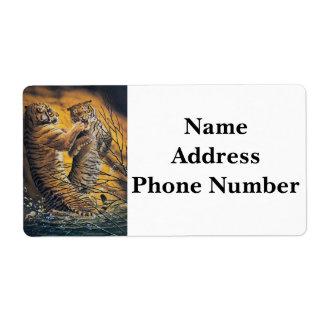 Tigres que luchan del vintage etiquetas de envío