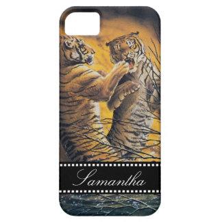 Tigres que luchan del vintage iPhone 5 carcasas