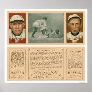 Tigres y béisbol 1912 de Phillies Poster