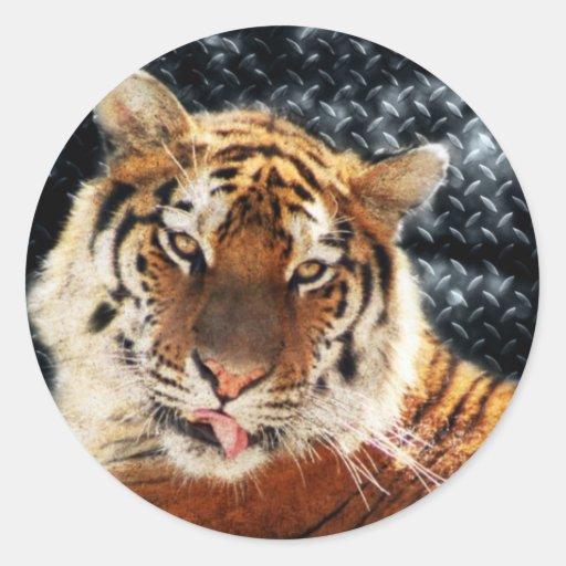 Tigres y diamantes pegatina redonda