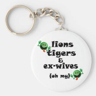 Tigres y exmujeres de los leones (oh mi) llavero redondo tipo pin