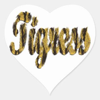 Tigresa - texto peludo pegatina corazon personalizadas