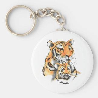 Tigresa y cachorro llavero redondo tipo pin