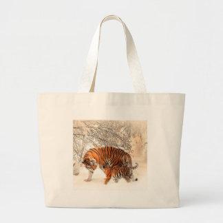 Tigress and Cub Large Tote Bag
