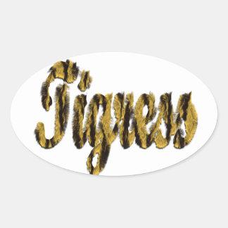 Tigress - Furry Text Oval Sticker