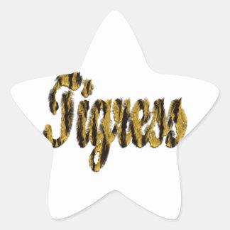 Tigress - Furry Text Star Sticker