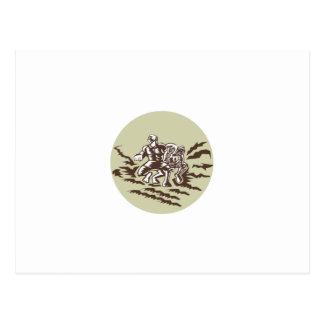 Tiitii Wrestling God of Earthquake Circle Woodcut Postcard