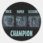 Tijeras de papel de la roca etiqueta redonda