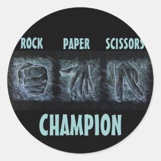 Tijeras de papel de la roca pegatina redonda