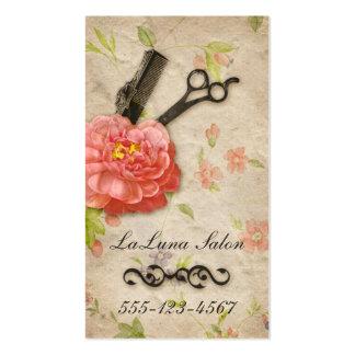Tijeras femeninas del salón floral del estilista d tarjetas de visita