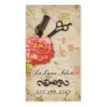 Tijeras femeninas del salón floral del estilista tarjetas de visita