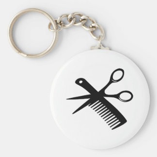 tijeras negras del peine del peluquero llavero