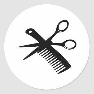 tijeras negras del peine del peluquero pegatinas redondas