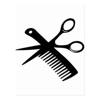 tijeras negras del peine del peluquero postales