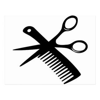 tijeras negras del peine del peluquero tarjetas postales