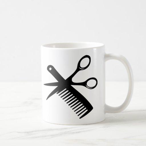 tijeras negras del peine del peluquero taza básica blanca