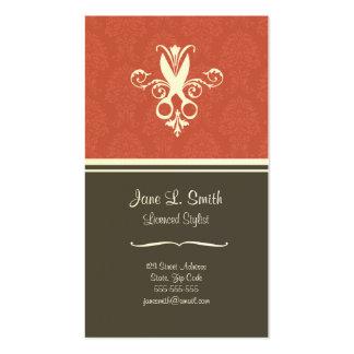 Tijeras rojas de la tapicería tarjetas de visita