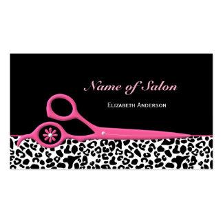 Tijeras rosadas y negras de moda del salón de pelo plantillas de tarjetas de visita